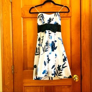 Navy & White Strapless Floral Bow Dress